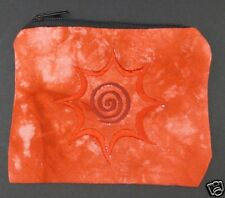 Red Tie Dye Spiral Coin Purse Bag Pouch Credit Card ID Holder Wallet 100% Cotton