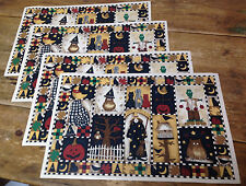 Set of 4 Placemats Halloween Debbie Mumm Vinyl Vintage Frankie Broomhilda Witch