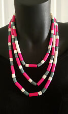 Necklace short or long Dark pink,Grey, Cream Wooden Beads Multi layer HOPSCOTCH