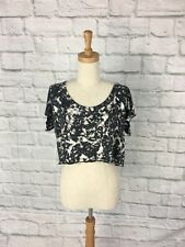 Tigerlily Black patterend Cropped top size 10