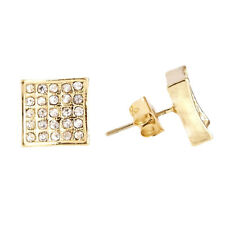 Or Bling Iced Out Clou d'oreille - SQUARE 10mm