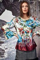 Trelise Cooper 100% silk Garden of Eden Frill Her top blouse size 14 euc