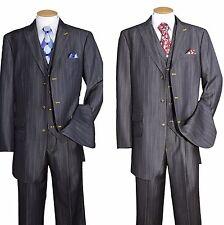 Men's Luxurious Denim Look Wool Feel Suit w/ Pants and Vest Navy/Black 5609V