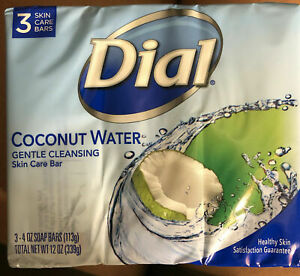 Dial Coconut Water Soap 3 Bars 4oz Ea Gentle Cleansing Skin Care Bars NEW