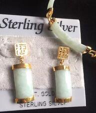 Sterling Silver Jade 18K Gold Bracelet & Dangle Earrings Green
