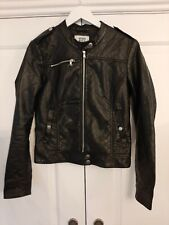 "Vero Moda Faux Leather Jacket Leather Biker Black Size Medium 18"" Pit to Pit"
