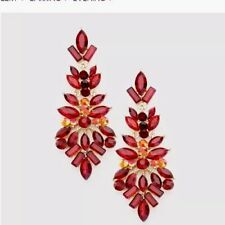 """2.75"""" Red Gold Dangle Drop Rhinestone Prom Long Crystal Pageant Earrings"""