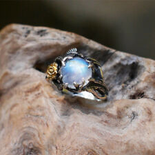 Vintage 925 Silver Rainbow Moonstone Round Stone Rose Leaf Rings Wedding Jewelry