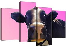 Large Pink Cow Bedroom Canvas Wall Art Pictures Set XL Prints 4151