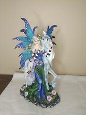 Flower Fairy Magic Fantasy Crystal Ball Unicorn Figurine