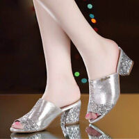 Fashion Women's Crystal Slip On High Heel Peep Toe Slipper Casual Sandals Shoes