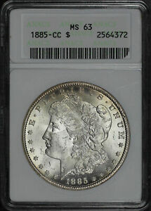 1885-CC Morgan Dollar ANACS MS-63 First Generation Holder