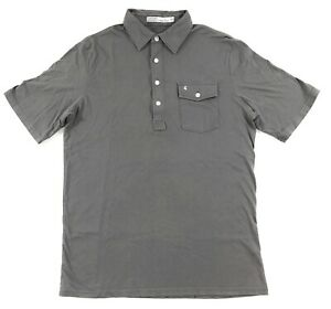 Criquet Classic Players Polo Shirt Mens Medium 100% Organic Cotton Gray