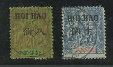 La chine france p.o indochine 1903 hoi comment surtaxes + marques postales... 2 timbres