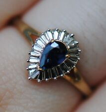 Zales NEW Natural Pear Sapphire & Diamond Halo Frame Promise Ring- 10K Gold