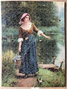 """VINTAGE WOODEN JIGSAW  PUZZLE """" COUNTRY MAIDEN"""""""