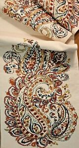 Embroidered Table Runner - Vintage Hand Printed Fabric - by Cynthia Rowley