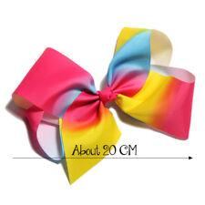 50pcs 20Cm Newborn Fashion Dovetail Rainbow Hair Bows for Hair Clips Handmade