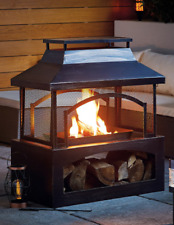 Outdoor Garden Log Burner Fire Pit XL with Log Store *48 Hour Express Delivery*