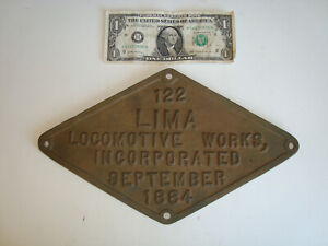 Brass Atq Vtg 1884 Locomotive Works Train #122 Plate Plaque Advertising Sign
