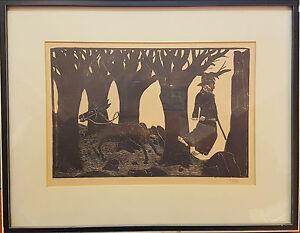 Schöner Holzschnitt von Jochem Pechau 1929-1989 mit Rahmen u Glas