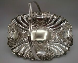 JOHN GALLIMORE 1876 - 1896 Sheffield England Silver Embossed Reticulated Basket