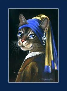 Cat ACEO Print Girl With Pearl Earring By Irina Garmashova