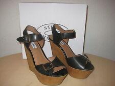 Steve Madden Shoes 9 M Womens New Breeann Black Leather Platform Wedge Heels