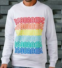 DSQUARED2 Sweater Jumper Sweat Shirt Rainbow Logo Size M Brand New Men Genuine