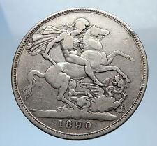 1890 Great Britain United Kingdom Queen VICTORIA Silver Crown Coin DRAGON i71802