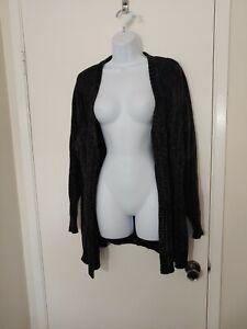 Women's Karen Scott Black Chenille Knit Open Cardigan Size 1X