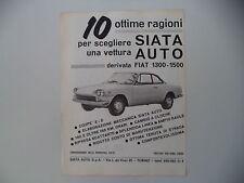 advertising Pubblicità 1962 AUTO SIATA DERIVATA DA FIAT 1300/1500