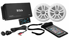 Boss ASK902B.6 4 Channel 500W Marine/Boat Amplifier W/Bluetooth & 2 Speakers