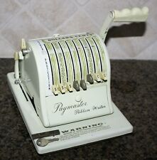 vintage PAYMASTER Series 8000 Ribbon Check Writer w/ Key & Cover WORKS