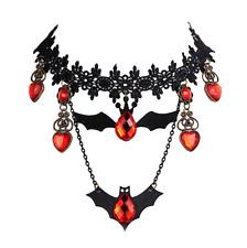 Halloween Women Punk Black Lace Rhinestone Bat Pendant Choker Necklace Jewelry