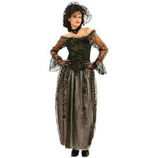 Ladies Black Widow Costume Victorian Psychic Halloween Womens Fancy Dress Outfit