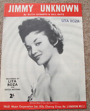 Jimmy Unknown. Lita Roza. Personally owned Sheet Music. Lita's own copy.