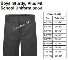 Boys Premium Quality Study Fit Teflon Coated School Uniform Grey Short (UK Made)