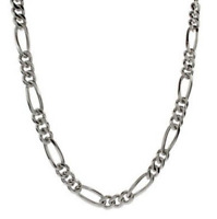 "Men's 22"" Inch Stainless Steel Figaro Chain Link 7mm Necklace C8"