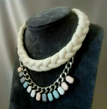 Chunky Thread Rope Statement Necklace Thick Silver Chain Pastel Colour Tribal