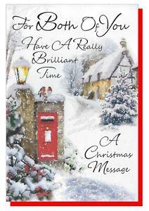 Christmas Card To Both Of You - Snow Scene 19.5cm X13.5cm SIMON ELVIN (Couple) B
