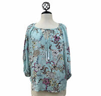 LOVE STITCH Blouse Blue Floral V-neck 3/4 Bell Sleeve Peasant Boho NEW Sz Small