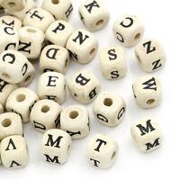 New: 200 Naturell Buchstaben Holz Würfel Perlen Beads 10x10mm Wholesale