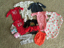NEW LOT/11 BABY GIRL CLOTHING CARTERS FALL WINTER 0-3M SWEATER SLEEPER FREE SHIP
