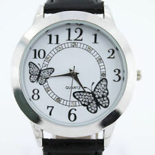 Ladies Fashion Silver White Dial Quartz Butterfly Black Leather Band Wrist Watch