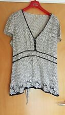 ladies black ivory tunic top size 18 20 smart casual