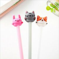 2pcs Cartoon Cat Dog Gel Ink Pen Ballpoint 0.5mm Black Ink Student Pens Gifts