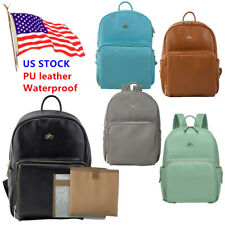PU Faux Leather Mummy Baby Diaper Bag Backpack Shoulder bag Waterproof
