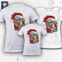 T-shirt magliette famiglia NATALE CANE DOG MERRY CHRISTMAS Idea Regalo