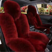 Red Soft Car Sheepskin Front Seat Cover Cushion Mat Long Wool Fur Fits Most Car
